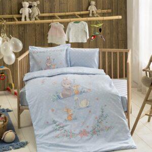 Постельное белье TAC BEBEK ORGANIK HAPPY BUNNY MAVI для новорожденных